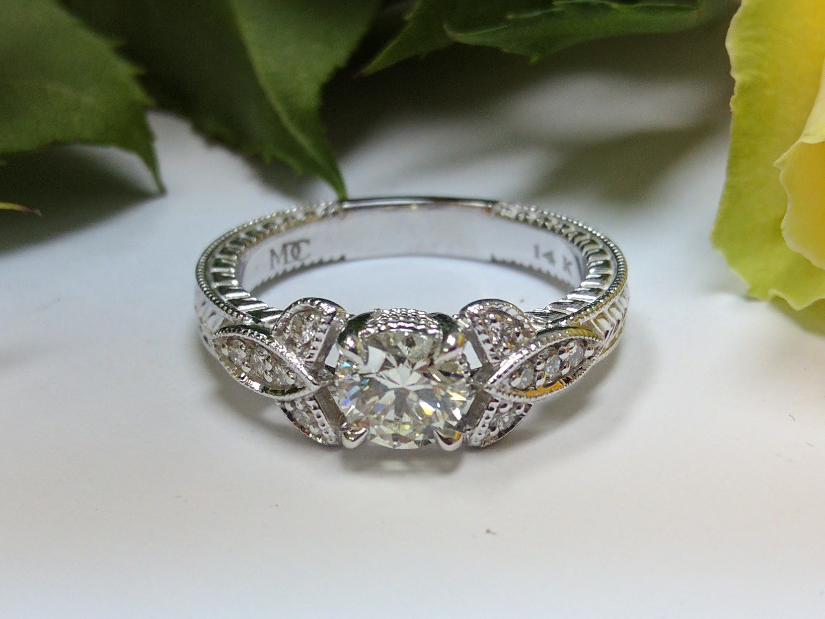 Vintage Style Celtic Knot Diamond Engagement Ring