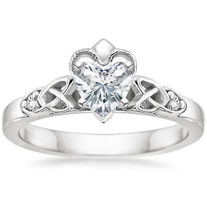 Heart Shape Cathedral Celtic Claddagh Diamond Engagement Ring