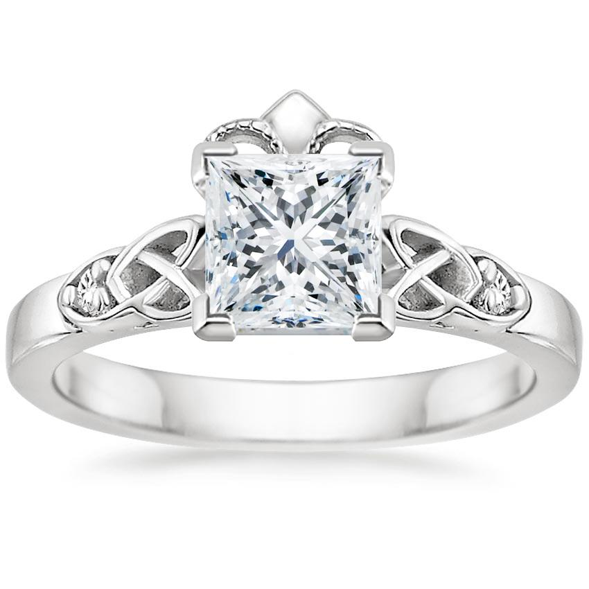 Princess Diamond Celtic Claddagh Engagement Ring