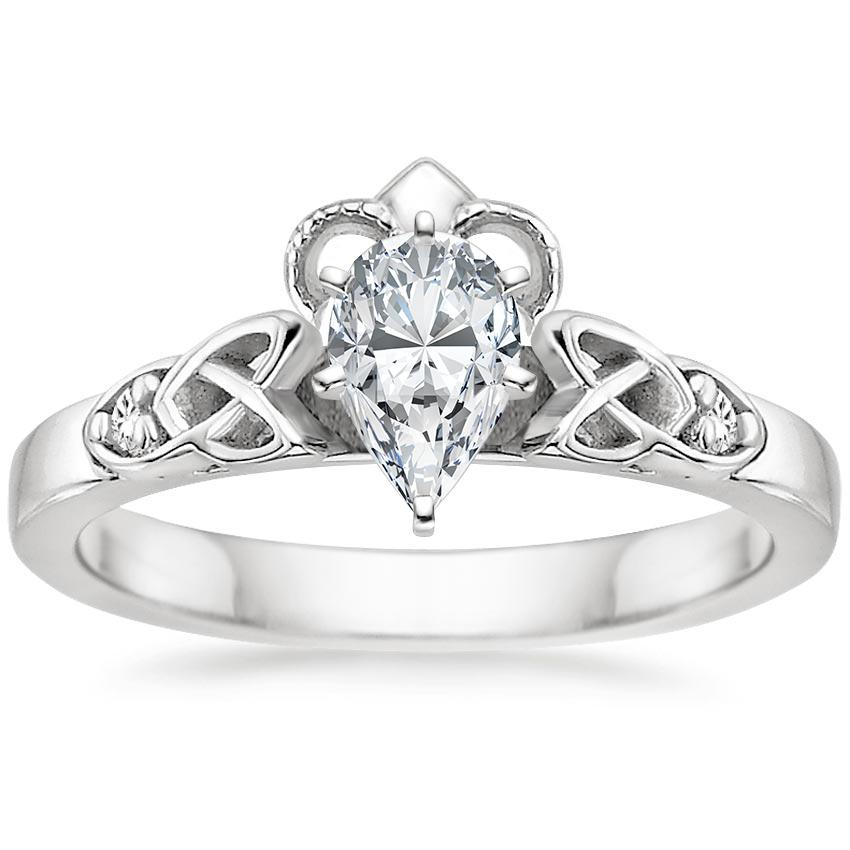 Pear Diamond Celtic Claddagh Engagement Ring