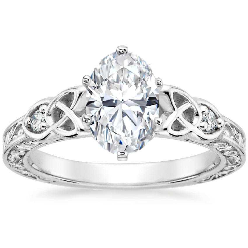 Oval Celtic Engraved Diamond Engagement Ring