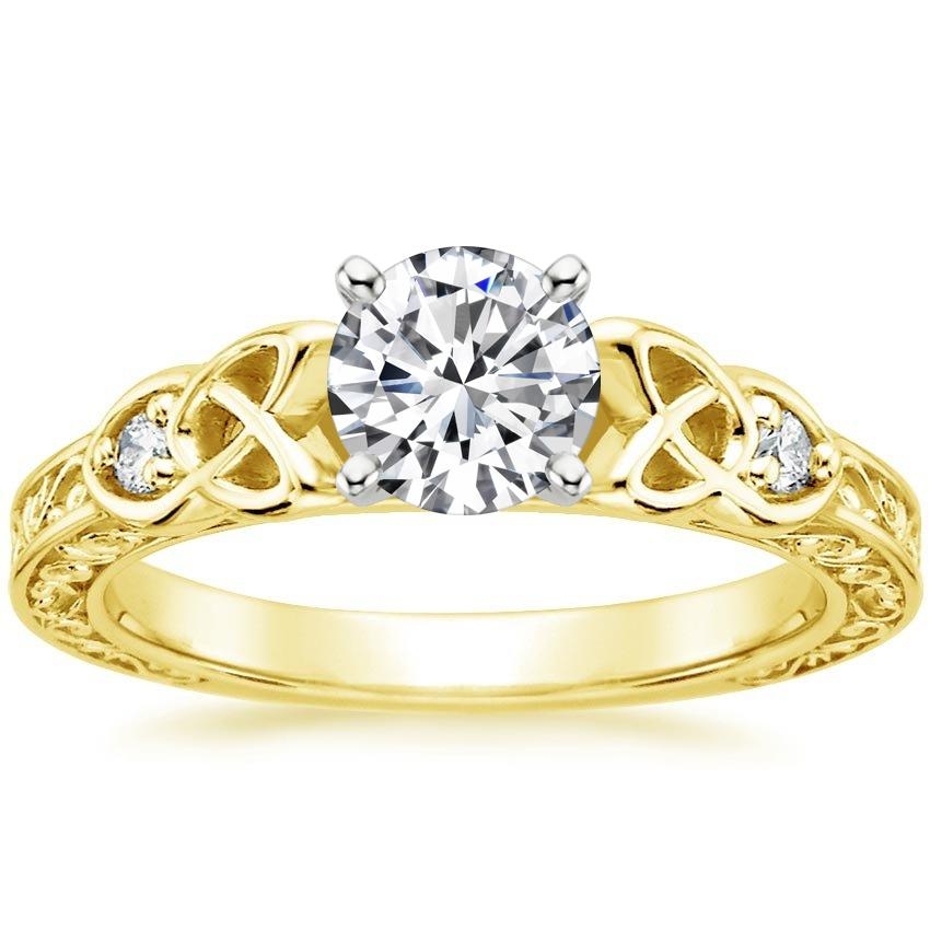 Yellow Gold Celtic Engraved Diamond Engagement Ring