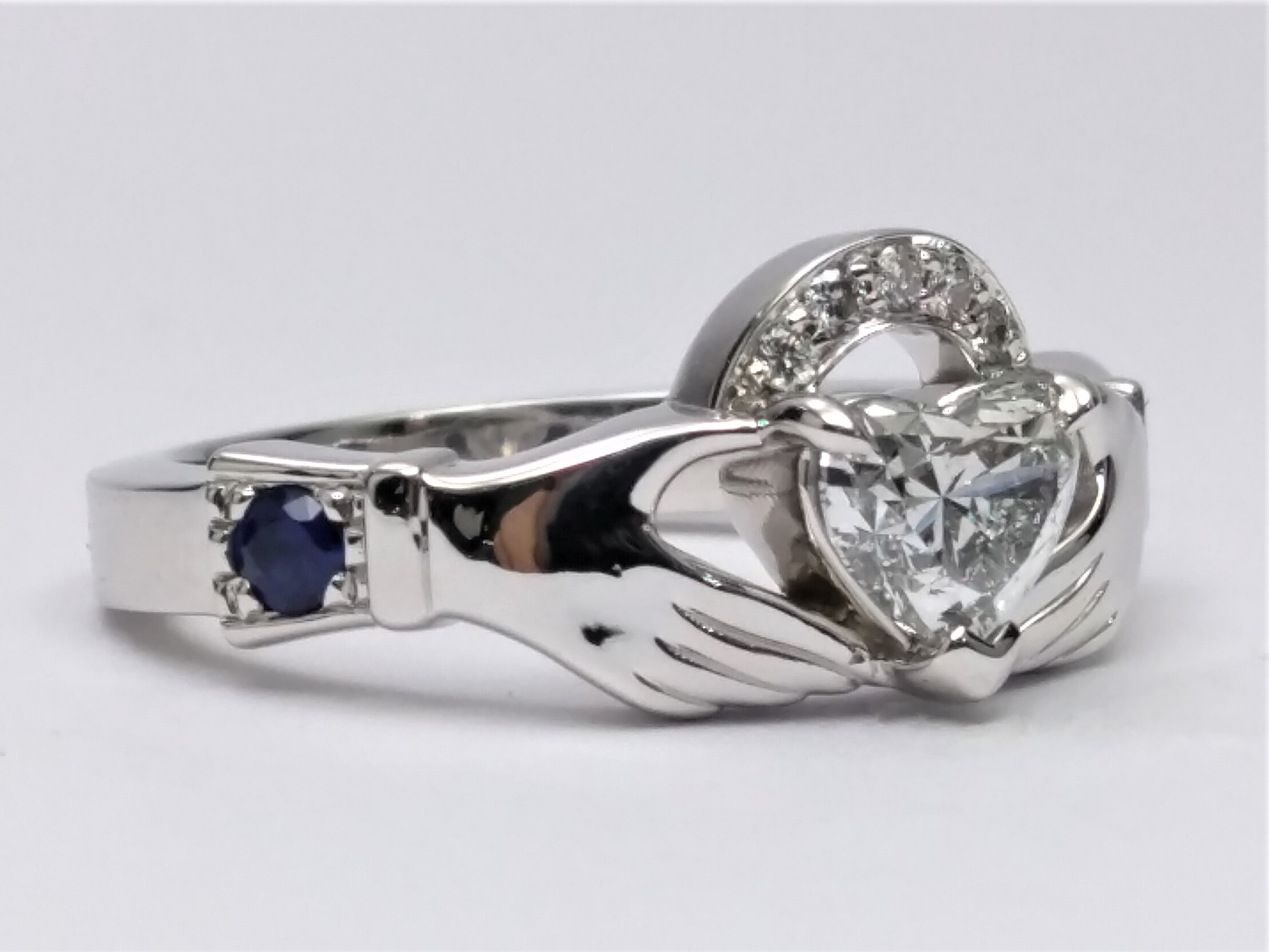 Heart Shaped Claddagh Gem Stone Engagement Ring