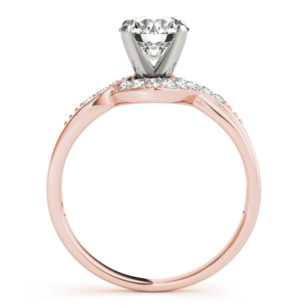 Swirl Halo Diamond Engagement Ring in Rose Gold