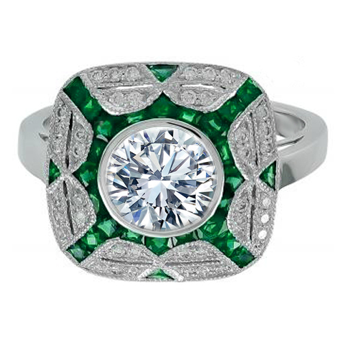 Large Bezel Set Diamond Art Deco Double Halo Engagement Ring with Green Tourmaline Accents