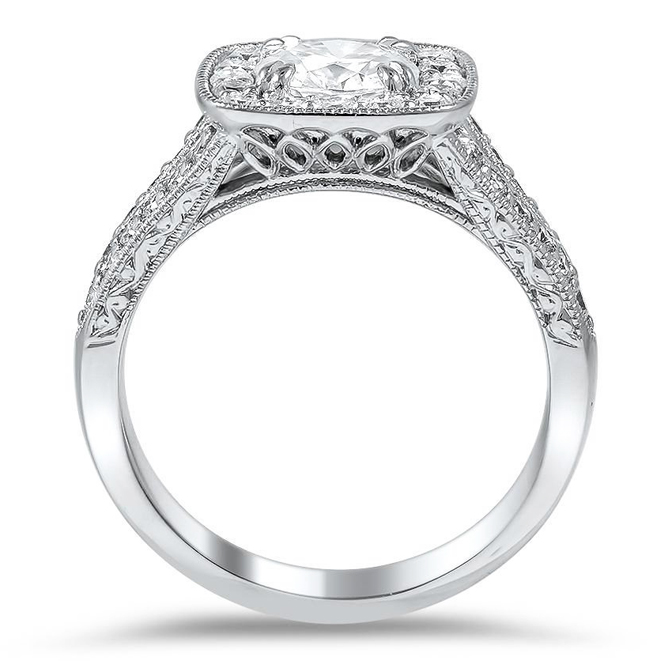 Square Halo Diamond Engagement Ring with Split Band