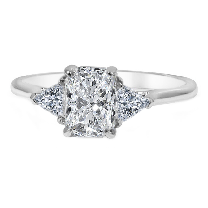 Cathedral Classic Three Stone Radiant-Trillion Engagement Ring