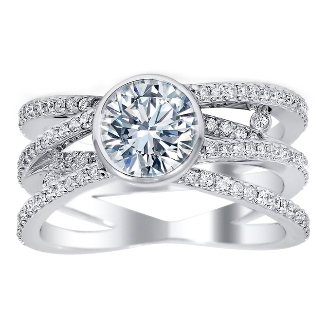 Quad Multi-Row Bridge Diamond Engagement Ring