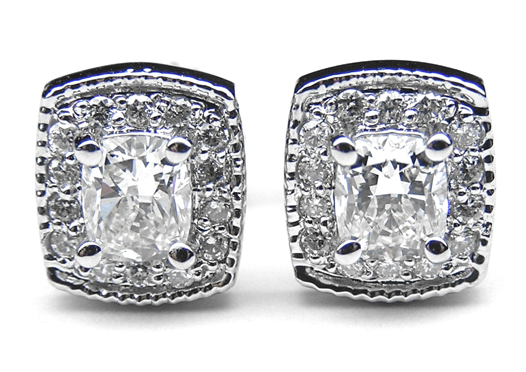 Cushion Diamond Halo Earrings