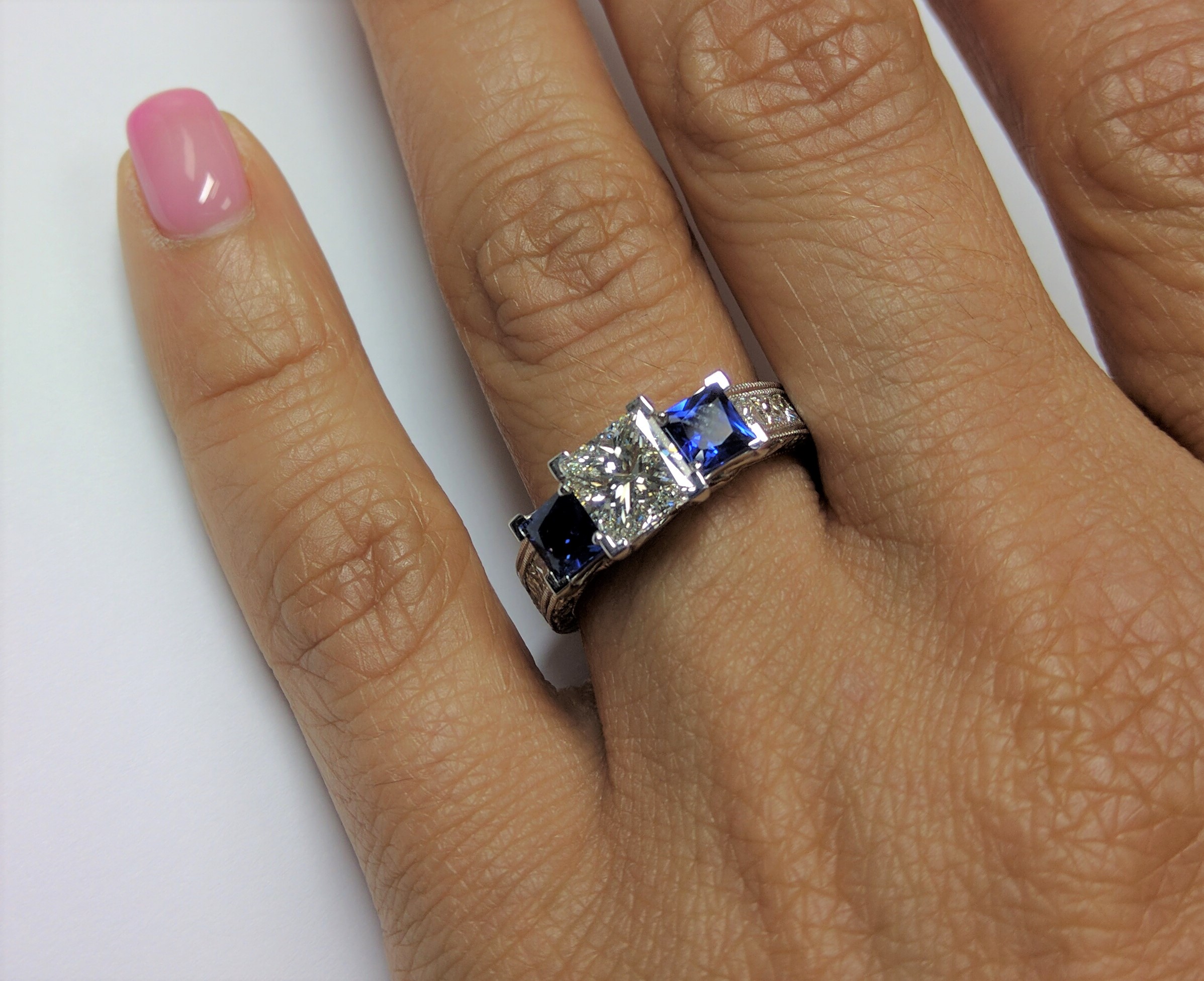 Three Stone Diamond - Sapphire Engagement Ring