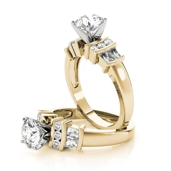 Classic Multi Row Baguette & Round Diamond Engagement Ring in Yellow Gold