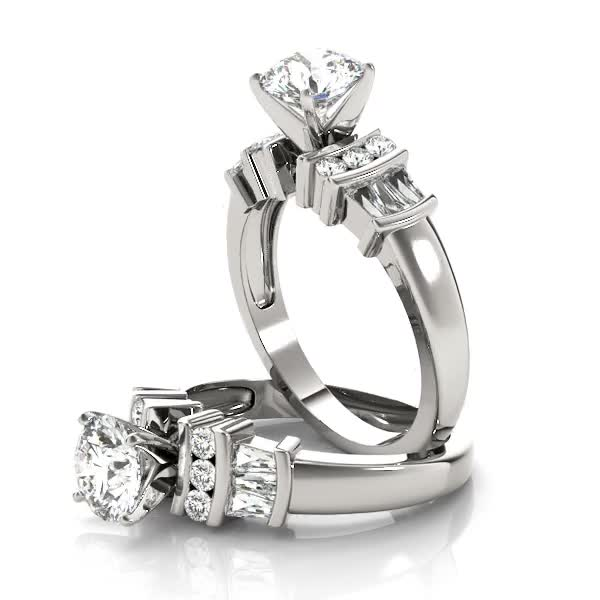 Classic Multi Row Baguette & Round Diamond Engagement Ring