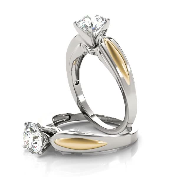 Solitaire Contour Engagement Ring in White & Yellow Gold
