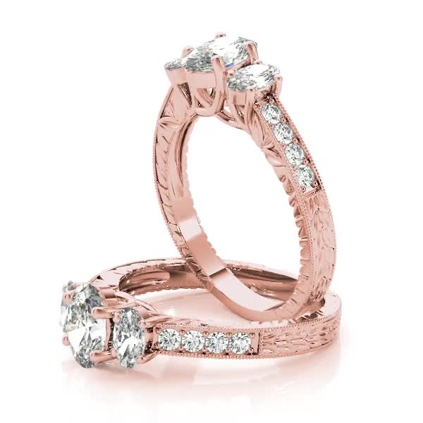 Three Stone Vintage Oval Diamond Engagement Ring, Anniversary Ring in Rose Gold