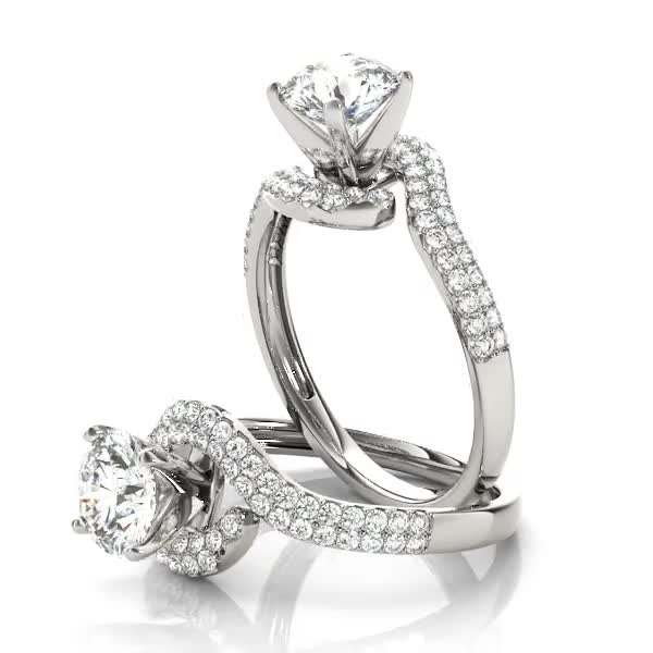 Petite Diamond Swirl Engagement Ring with Double Row