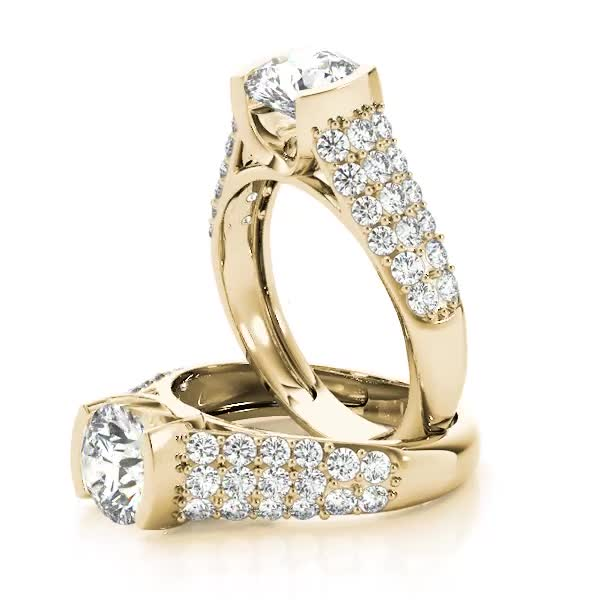 Etoil Bezel Cathedral Diamond Engagement Ring in Yellow Gold