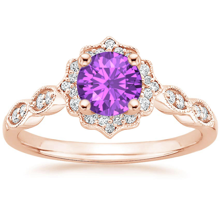 Round Cut Amethyst Swing Halo Diamond Engagement Ring in Rose Gold