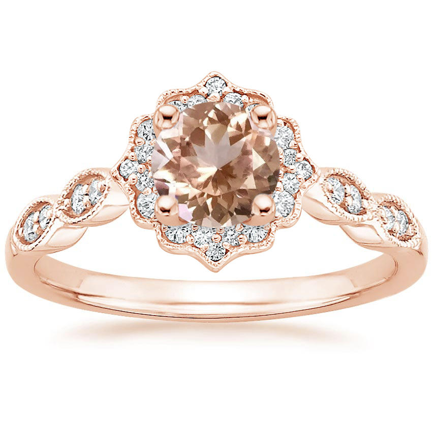 Round Cut Morganite Swing Halo Diamond Engagement Ring in Rose Gold