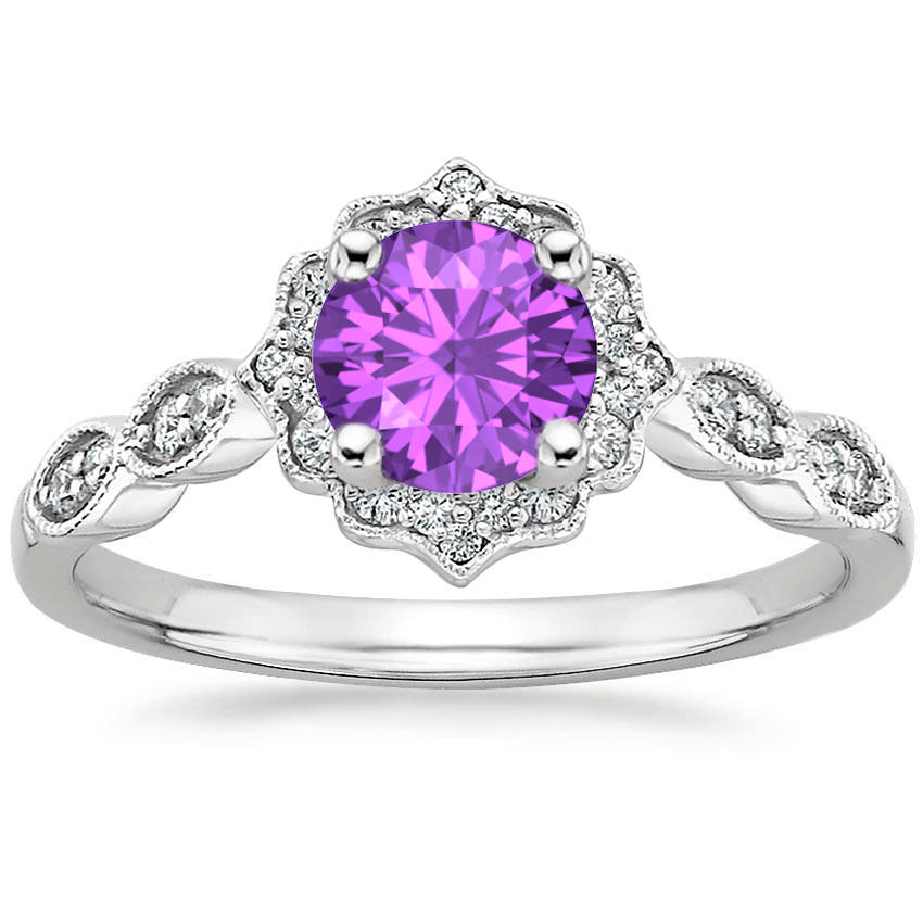 Amethyst Swing Halo Diamond Engagement Ring
