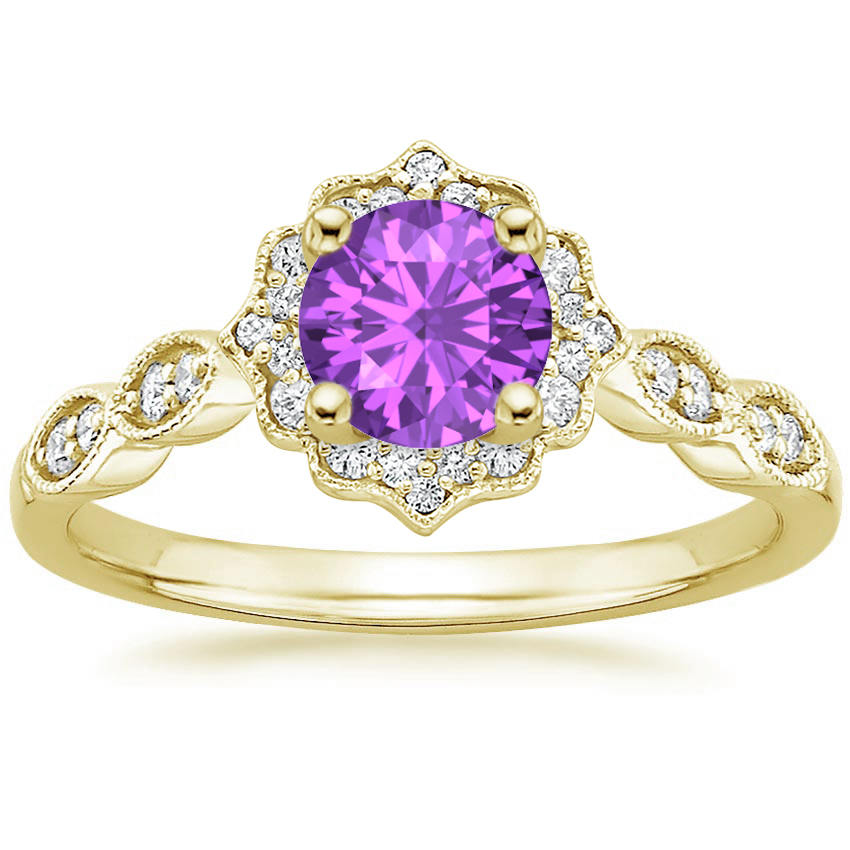 Amethyst Swing Halo Diamond Engagement Ring in Yellow Gold