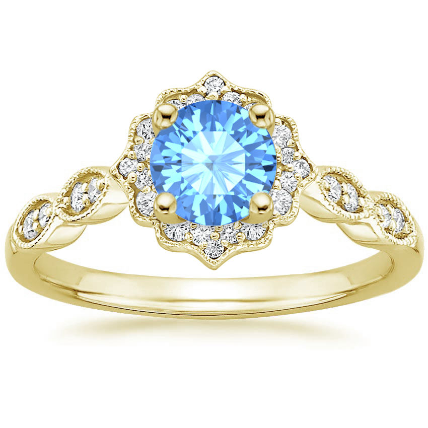 Blue Topaz Swing Halo Diamond Engagement Ring in Yellow Gold