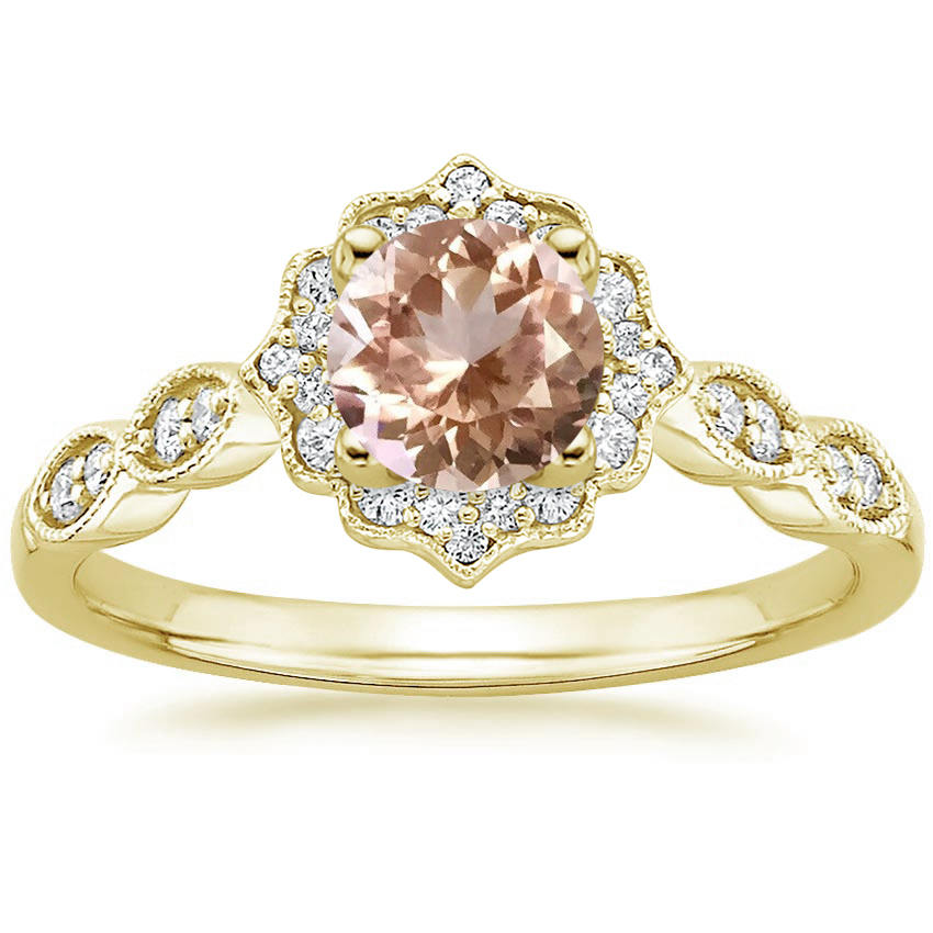 Round Cut Morganite Swing Halo Diamond Engagement Ring in Yellow Gold