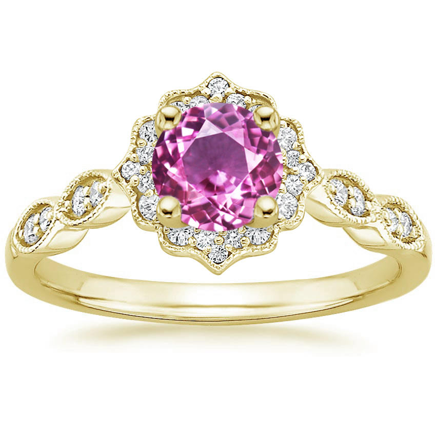 Round Cut Pink Sapphire Swing Halo Diamond Engagement Ring in Yellow Gold