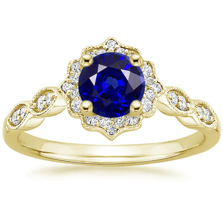 Round Cut Blue Sapphire Swing Halo Diamond Engagement Ring in Yellow Gold