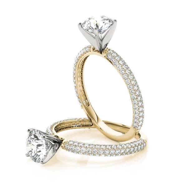 Petite Etoil Multi Row Diamond Engagement Ring in Yellow Gold