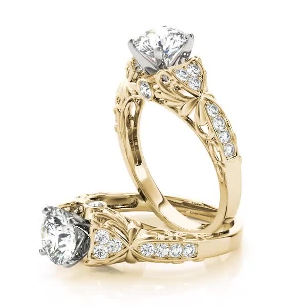 Swan Cathedral Diamond Engagement Ring in Yellow Gold