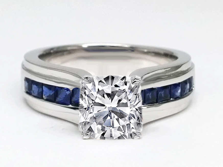 Cushion Diamond Bridge Engagement Ring with Blue Sapphire 0.90 tcw.