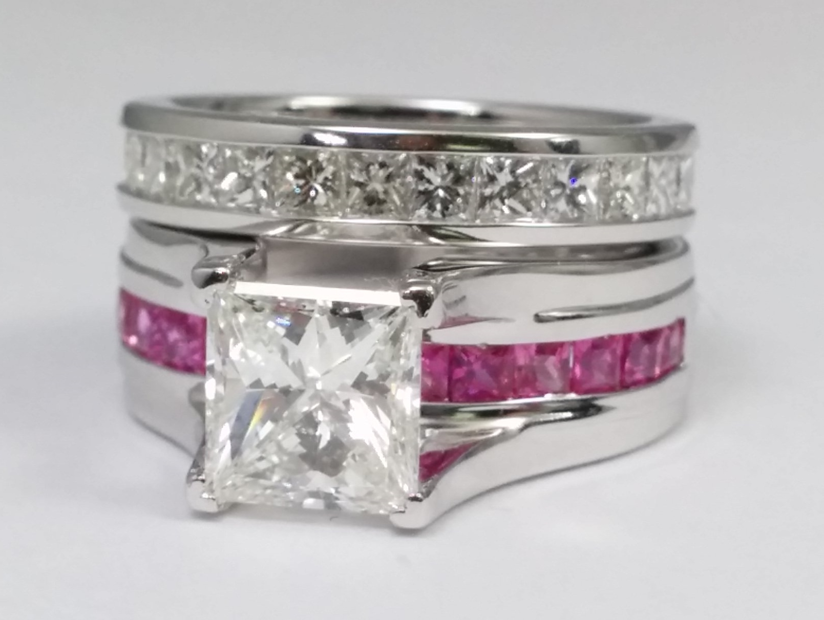 Princess Cut Diamond Bridge Engagement Ring with Pink Sapphire and Diamond Eternity Band