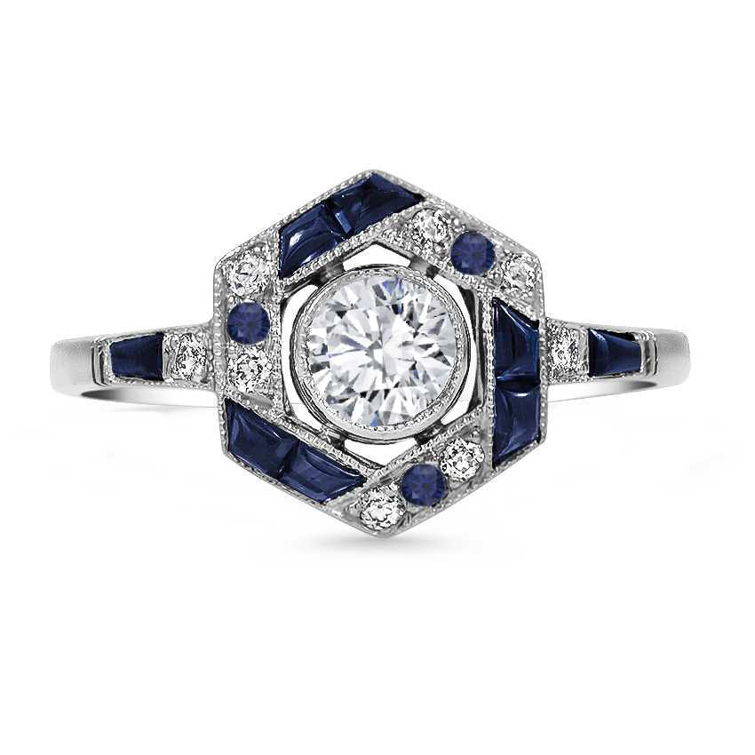 Art Deco Halo Diamond Sapphire Engagement Ring