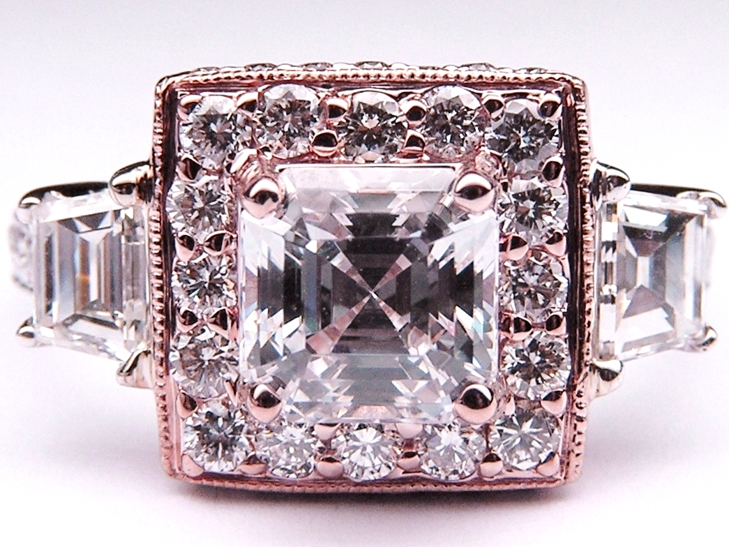 Asscher Cut Diamond Engagement Ring Heirloom Halo   Trapezoids side stones in 14K White and Rose Gold