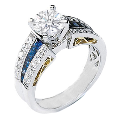Handcrafted 14K Y Gold and Platinum Diamond and Sapphire Heirloom Engagement Ring Setting 1.00 tcw.