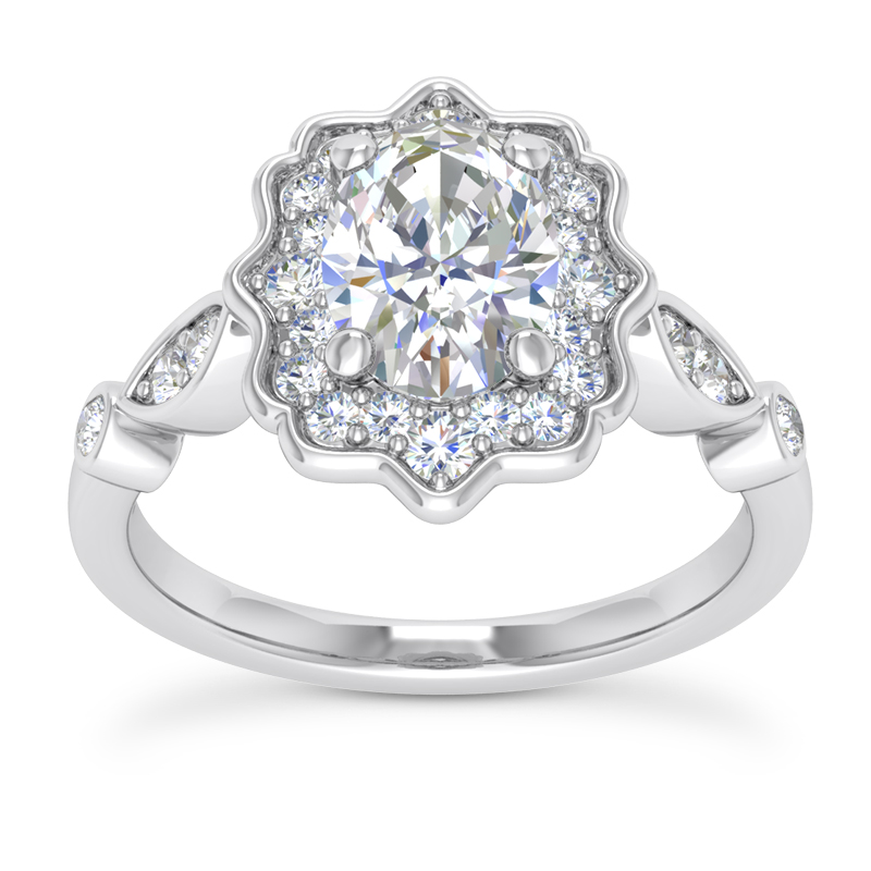 Floral Halo Swing Oval Engagement Ring