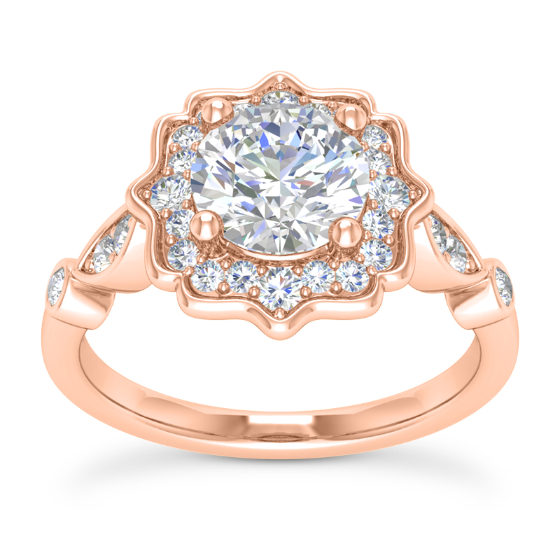 Floral Halo Swing Engagement Ring Rose Gold