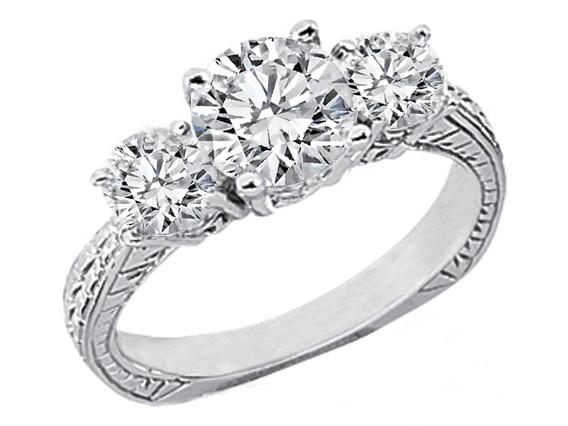 14 Karat White Gold Three Stone Round Diamond Vintage Style Engagement Ring