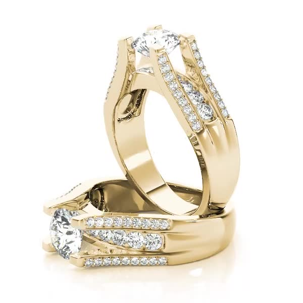 Vintage Diamond Bridge Engagement Ring Yellow Gold