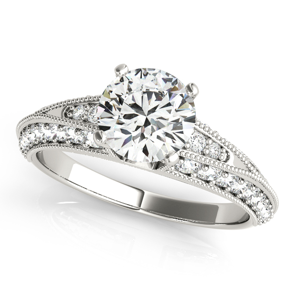 Vintage Style Knife Edge Split Band Engagement Ring with Milligrain