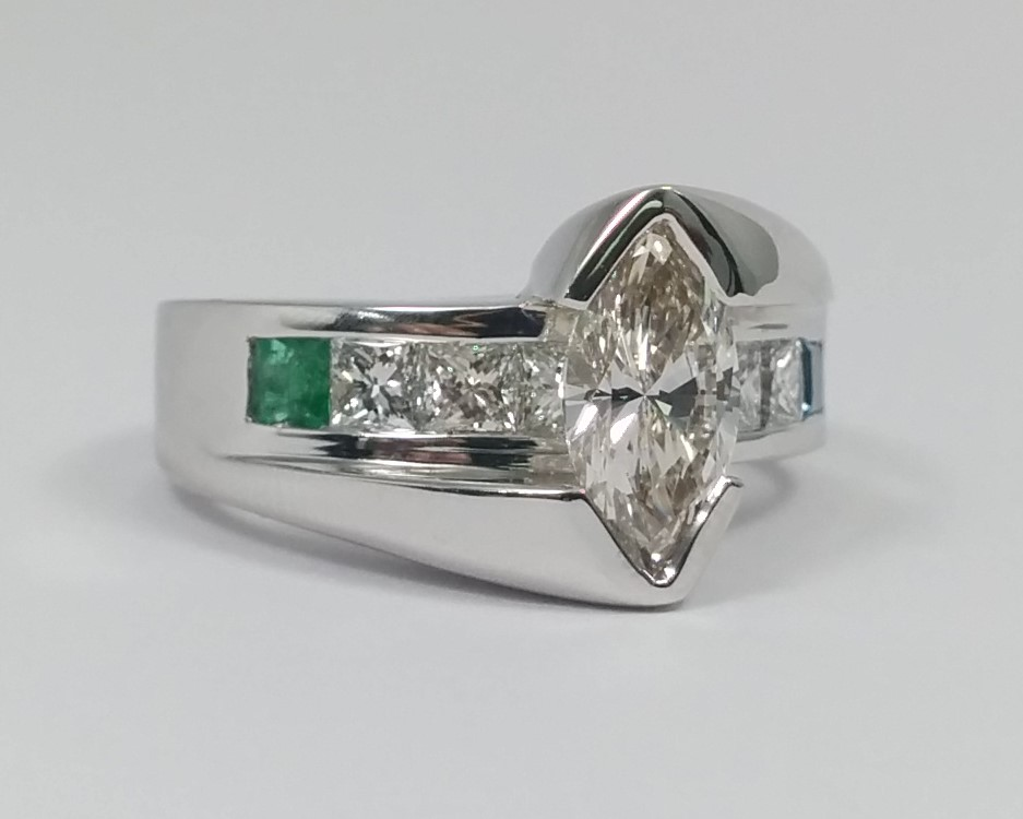 Marquise Diamond Bridge Engagement Ring with Gem Stone Accent