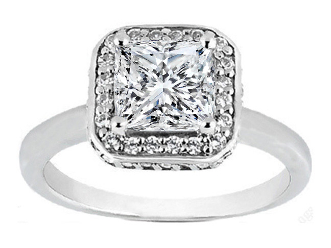 Princess Cut Diamond Double Halo with Crown Engagement Ring 031 tcw