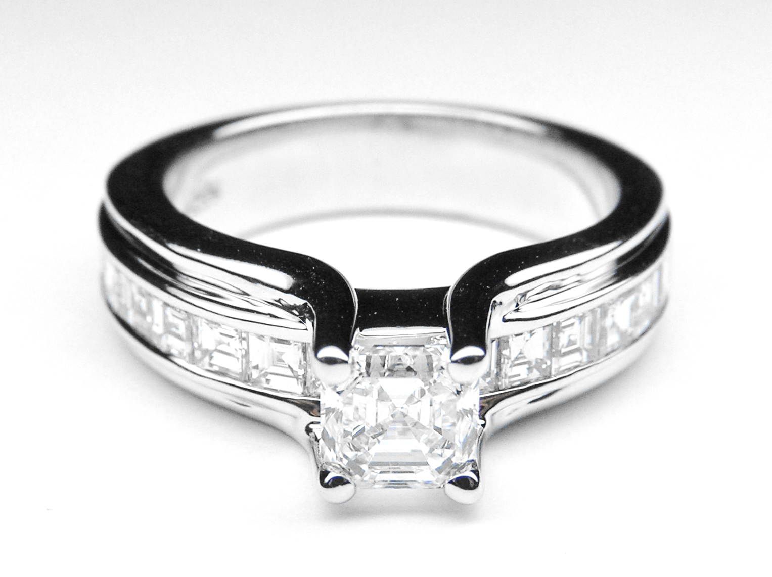 Asscher Cut Diamond Bridge Engagement Ring with Carre Cut Diamonds Channel Set