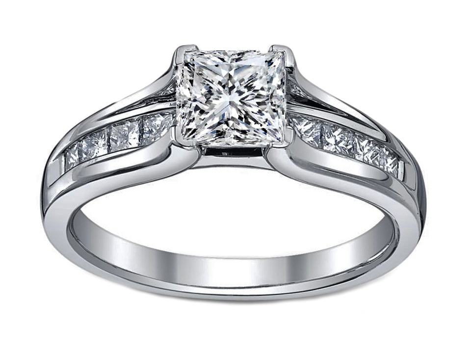 Petite Princess Diamond Bridge Engagement Ring