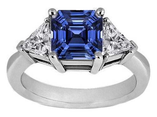 Asscher Blue Sapphire & Trillion Diamond Liz Hurley Engagement Ring in 14K White Gold 1.30 tcw.