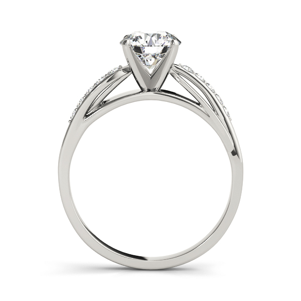 Swirl Cathedral Diamond Engagement Ring with Leave Design