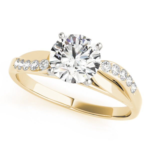 Swirl Cathedral Diamond Engagement Ring with Leave Design in Yellow Gold