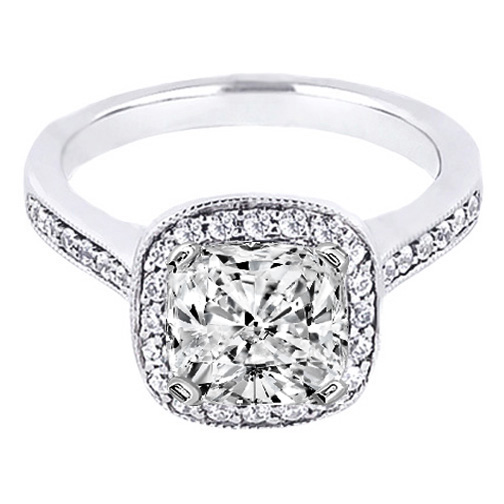 Cushion Diamond Cathedral Engagement Ring pave Side stones 0.26 tcw. In 14K White Gold