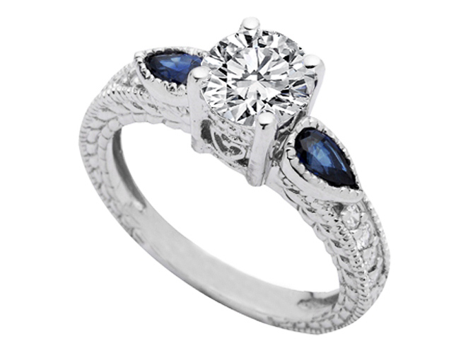 Vintage Style Heirloom Diamond Engagement Ring Pear Shape Blue Sapphires in 14K White Gold