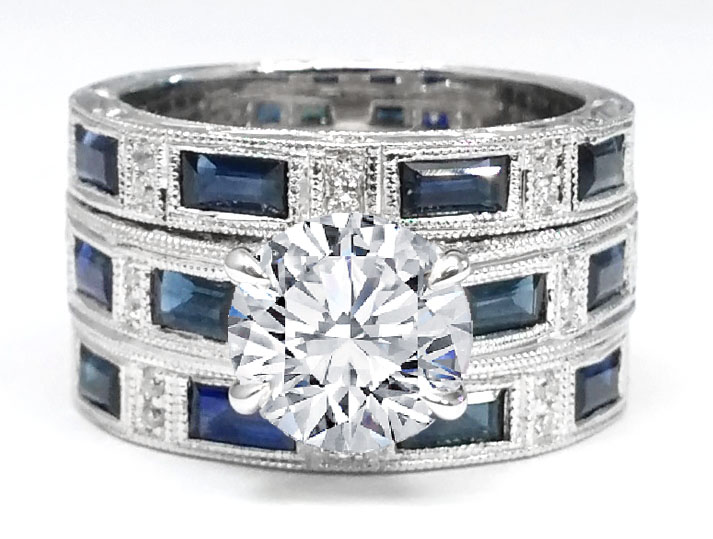 Engraved Vintage Engagement Ring & matching wedding bands bridal set Diamonds and blue sapphire accents 1.02 tcw